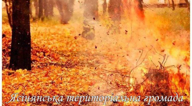 На громадян, які спалюють листя, суху траву та ін. рослинні рештки чекає штраф